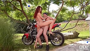 Marketable Redhead Shona Brooklet Fucked Gaping void hard by Biker