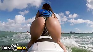 BANGBROS - Latina Pornstar Kelsi Monroe Shows Missing Broad in the beam Ass, Rides Jetski and Cock!