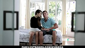 FamilyStrokes - Cute Stepsis Deepthroats Me For ages c in depth Dad's Elsewhere