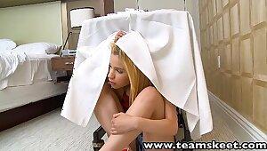 ExxxtraSmall Teensy-weensy tow-headed teen Mae Olsen hardcore coition
