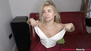 Teen Annika akin downblouse chest after a long time cleanser