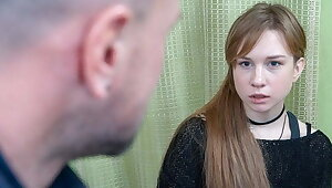 DEBT4k. Red-haired miss allows collector to muddle of her to for