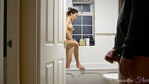 Naughty Stepdaughter Ep. 4 - Spied on in slay rub elbows with shower